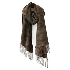 Camo Print Tassels Pashmina ($14) ❤ liked on Polyvore featuring accessories, scarves, camo scarves, camouflage scarves, camo shawl and tassel scarves