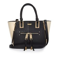Black mini zip winged tote handbag £35.00
