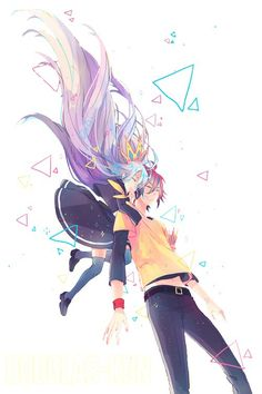 Shiro & Sora discovered by ムーン on We Heart It - grafika anime, sora, and no game no life - Shiro, Manga Kawaii, Manga Anime, Anime Art, Otaku Anime, Nogame No Life, Animation, Anime Kunst, Fan Art