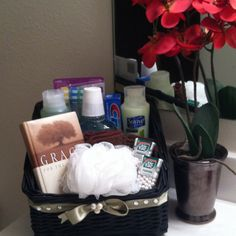 Guest bathroom necessity basket.