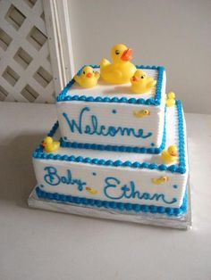 Image detail for -Tiered baby shower cake with rubber ducky theme. in Shower Cakes (Baby ...