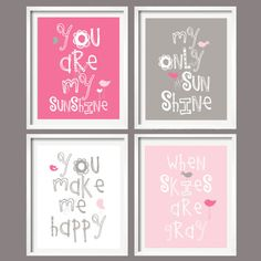 Nursery Print - You Are My Sunshine - Pink and Grey - 8x10 wall art, baby shower gift, boy and girl colors    I SING THIS TO RIAN EVERY NIGHT : )