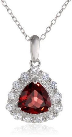 Sterling Silver Garnet and Created White Sapphire Teardrop Pendant Necklace 18 * Learn more by visiting the image link.Note:It is affiliate link to Amazon. #shoutoutback