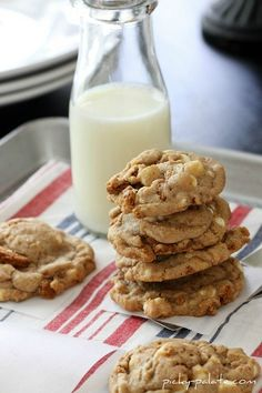 Cookies made with Biscoff cookies and white chocolate chips. Biscoff are those tasty cookies offered on Delta airlines. Yum!