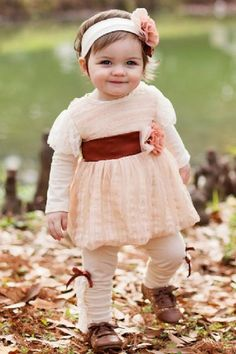 Vintage Creme Del La Creme Dress | So cute! Love the little leggings with the ruffles and bows.