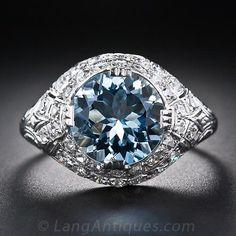 Art Deco Aquamarine and Diamond Ring, ca. 1930