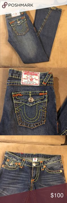 True Religion jeans Worn only a few times. Green stitching on seams True Religion Jeans Boot Cut
