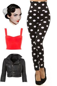 50s Style High Waist Black White Polka Dot Bombshell Pinup Leggings.  Not sure if  could pull off high waisted but this is still cute.