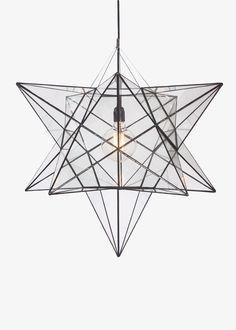 The Star Chandelier Star Chandelier, Glass Chandelier, Chandelier Lighting, Ceiling Installation, Light Fittings, Black Fabric, Stained Glass, Light Bulb, Colours