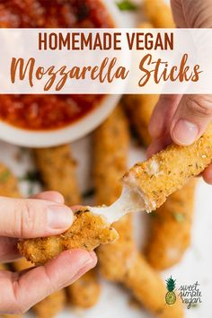 Just like the mozzarella sticks you enjoyed as a kid, except vegan. These sticks are perfect for a party or game day snack. They& soft and melty on the inside, perfectly crunchy on the outside and so dang good paired with marinara sauce. Vegan Foods, Vegan Dishes, Aperitivos Vegan, Vegan Mozzarella Sticks, Comida Pizza, Tortillas Veganas, Vegetarian Recipes, Healthy Recipes, Vegan Recipes For Kids