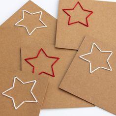 Kerstkaarten met ster borduren | draadenpapier
