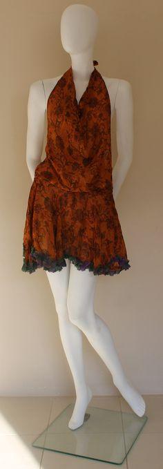 Green Short Dress/ Vintage Silk Dress Bikini by SilkinaFashions