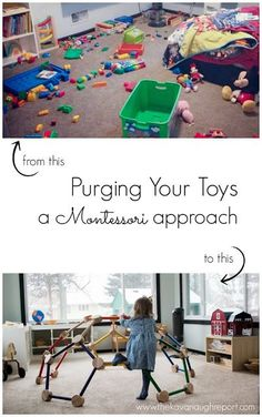 A Montessori approach to purging your toys in a few easy steps. These steps will help you cut back on the number of toys in your home. playroom A Montessori Approach to Purging Your Toys Montessori Baby, Montessori Playroom, Montessori Activities, Infant Activities, Activities For Kids, Montessori Toddler Bedroom, Waldorf Playroom, Preschool Toys, Toddler Fun