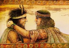 """Telling the tale of the adventures of King Gilgamesh and his trustworthy friend Enkidu. """"The epic of Gilgamesh, the oldest written story, known to exist. King Gilgamesh, Gilgamesh And Enkidu, Epic Of Gilgamesh, Great Poems, Ancient Mesopotamia, Story Of The World, Sumerian, Urban Setting, Ancient Art"""