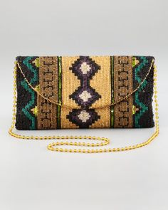 Southwestern Beaded Clutch Bag by Moyna at Neiman Marcus.