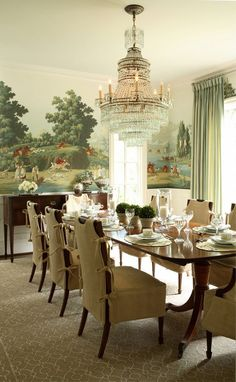 Formal dining room with DeGournay wallpaper contrasted with the casual slipcovers. - would like to have a dining room with wallpaper or painted scenes on walls. Room Interior Design, Interior Exterior, Dining Room Design, Dining Room Furniture, Kitchen Interior, Kitchen Decor, Dining Chairs, Elegant Dining Room, Beautiful Dining Rooms