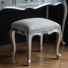 Beautifully cushioned seated stool, hand painted with a cool silver finish, add some sophistication to your bedroom with this Chic Silver Shabby Chic Dressing Stool. Dressing Table With Stool, Dressing Table Mirror, Dressing Area, Contemporary Kitchen Counters, Luxury Furniture, Home Furniture, Bedroom Furniture, French Chic Fashion, Mahogany Color