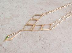 Gold Bib Necklace Sarah Coventry Goddess Geometric Dangle