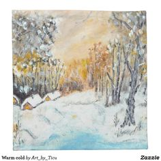 Warm cold #Napkin #decoupage #idea #supply #furniture #art #acrylic #original #craft #diy #table #hotel #decoration #décor #cafe #restaurant #artcafe #artrestaurant #arthotel #landscape #nature #dining #diner #lunch #zazzle