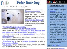 DenSchool offers this CLIP (Creative Learning in a Pinch) to help you study the Arctic and celebrate International Polar Bear Day on February Find fun facts about polar bears, tips from the National Wildlife Federation, crafts, snacks, worksheets. Polar Bear Facts, Polar Bears, Teddy Bears, Science Ideas, Activity Ideas, Preschool Ideas, Craft Ideas, Penguin Day, February Holidays
