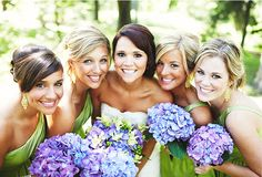 How gorgeous are these purple hydrangea bouquets with bright green dresses, fit these girls smiles, bright and cheery