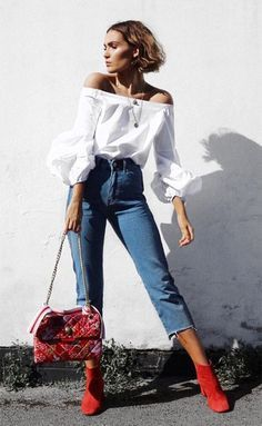 Street style - off the shoulder top, cropped frayed denim, + red suede booties