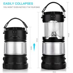 Solar Camping Lantern, APPHOME Portable Outdoor Rechargeable LED Camping Lamp Light Handheld Flashlights with USB PowerBank Collapsible Camping gear for Hiking Fishing Emergencies Hurricane Outages: http://amzn.to/2snEOei