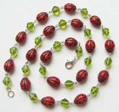 Necklace Ladybugs I by woodfairy on Etsy, $20.00