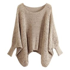 Chicnova Fashion Batwing Open Knit Sweater (€20) ❤ liked on Polyvore featuring tops, sweaters, shirts, chicnova, batwing sleeve sweater, brown knit sweater, brown sweater, loose fit shirt and shirt sweater