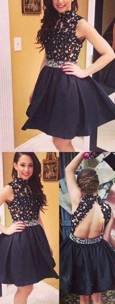 Little Black Dress,Open Back Homecoming Dress,Short Black Lace Prom Dress,Sexy Open Back Graduation Dress