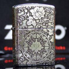 Regular Zippo Sterling Silver Peony Flower Lighter