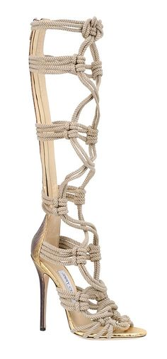 Jimmy Choo Spring 2014 oh my goodness, i LOVE these, and I am not a crazy high heel person! But these nautical ropes are amazing!