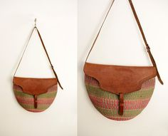 Vintage tote // rustic woven straw and leather by Yugovicheva