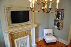"""There's something to be said about """"framing"""" the flatscreen tv when it's hung above the fireplace... interesting.     *personally, I'd much rather have art/family picture above our fireplace then our TV but I agreed in our set-up they'd compete."""