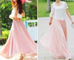Princess pink Chiffon skirt Maxi Skirt Long by fashionclothingshow