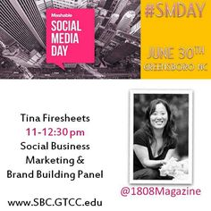 We are excited to have Tina Firesheets of @1808greensboro on the Panel about Social Business, Branding, Journalism, and Media from  11-12:30 pm for #SMDay on June 30! The entire event runs 9-4 pm join us at the Nussbaum Center for Entreprenuership located at 1451 S. Elm Eugene St, Greensboro, NC 27406. Free and Open to the Public!  Registration at www.sbc.gtcc.edu #GTCCSBC #SmallBusiness #Entrepreneurs #LadyBizness #BiznessBranding #GetInvolved