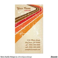 Retro Surfer Stripes Pack Of Standard Business Cards
