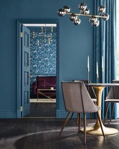 graham brown wallpaper of the year 2019 is announced Living Room Murs Violets, Teal Paint Colors, Dark Brown Walls, Teal Wallpaper, Blog Wallpaper, Wallpaper Designs, Restaurant Design, Graham Brown, Color Of The Year