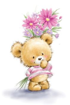 Teddy Bear Images, Teddy Bear Pictures, Tatty Teddy, Canvas Artwork, Canvas Art Prints, Teddy Bear Drawing, Holding Flowers, Christmas Drawing, Flower Canvas