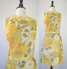 60s Dress Vintage Set NOS w/ Tags Unworn House of Nine Stanton Jrs. Yellow Floral Chiffon Top Skirt Head Scarf 3 Piece madmen 1960s Dresses by swingkatsvintage on Etsy https://www.etsy.com/listing/101813418/60s-dress-vintage-set-nos-w-tags-unworn