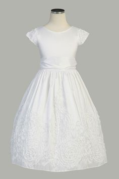 Floral Embroidered Taffeta First Communion Dress - Size 4 -10 Flower Girl Dresses