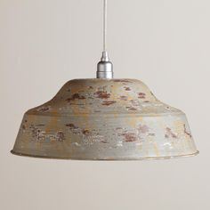 Distressed Grey Metal Pendant | World Market. would look great over the desk