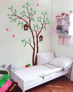Tree wall decal birdhouse and birds wall   $79.00