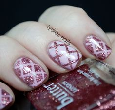 Pink glitter quilted mani. #sephoravday With striping tape, must have been so much work!