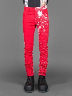 OFF-WHITE C/O VIRGIL ABLO, Destroyed Jeans (Red) | Pants ...