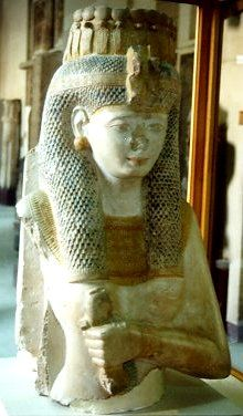 Even though only the titles and not the name of the queen are preserved on the rear pilaster, this piece has been identified as a statue of Meritamun, also known as the White Queen, a daughter of Ramesses II.  On the death of Nefertari (some time after the twenty-first year of the pharaoh's reign) she took on the role of the Great Royal Wife.