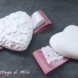 Segnaposto Matrimonio Gessetto profumato cuore romantico rosa antico pizzo principessa