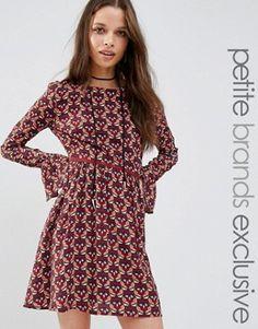 Glamorous Petite Long Sleeve Printed Skater Dress