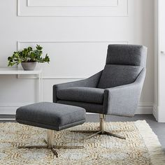 Austin Swivel Chair, Deco Weave, Feather Gray at West Elm - Chairs - Seating - Home Furniture Leather Swivel Chair, Swivel Armchair, Upholstered Ottoman, Recliner Chairs, Swivel Glider, Leather Sofas, Leather Ottoman, West Elm, Living Room Chairs