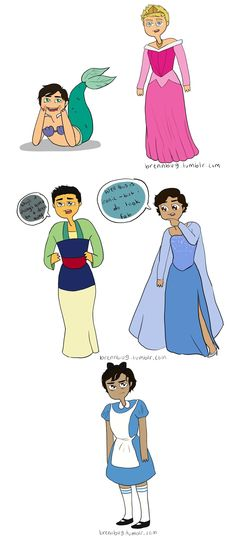 Heroes of Olympus boys as Disney princesses <3 Percy's face XD Percy, Jason, Frank Leo (I DO look fab lol) and Nico <3